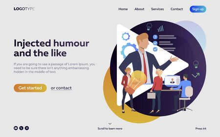 Workers cooperating at meeting landing page. Boss, aims, idea. Efficiency concept. Vector illustration can be used for topics like business, work, time management