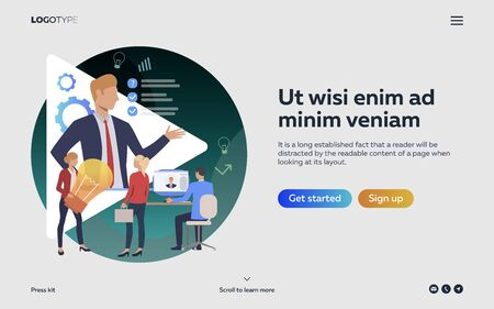 Workers cooperating at meeting webpage. Boss, aims, idea. Efficiency concept. Vector illustration can be used for topics like business, work, time management