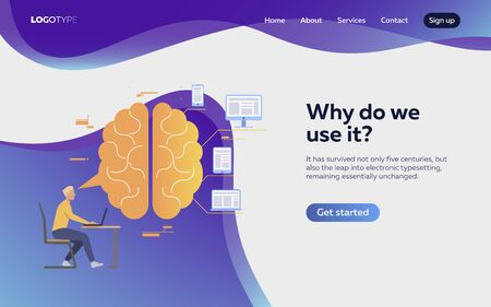 Man working at laptop landing page. Brain, devices, productivity. Efficiency concept. Vector illustration can be used for topics like business, work, time management