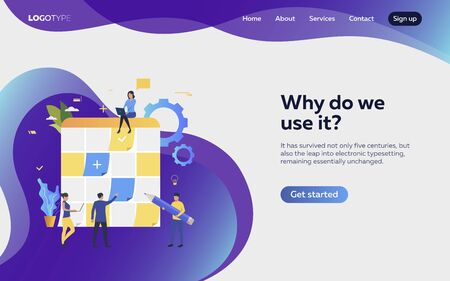Men and women setting work objectives landing page. Schedule, aims, devices. Efficiency concept. Vector illustration can be used for topics like business, work, time management