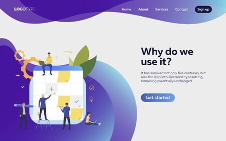 People planning work landing page. Schedule, aims, devices. Efficiency concept. Vector illustration can be used for topics like business, work, time management