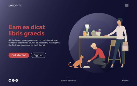 Boy and woman feeding cat in kitchen. Working mother, childcare, animal. Efficiency concept. Vector illustration can be used for topics like business, work, time management Vettoriali