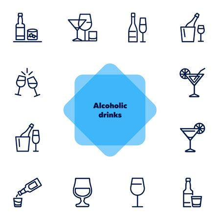 Alcoholic drinks icon. Set of line icons on white background. Martini, toast, whiskey. Beverage concept. Vector illustration can be used for topics like wine menu, bar, drinks  イラスト・ベクター素材