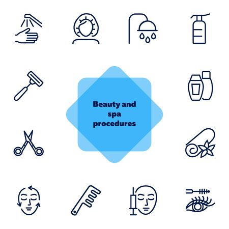 Beauty and spa procedures icons. Set of line icons on white background. Towel, face, syringe. Beauty salon concept. Vector illustration can be used for topics like spa, service, salon