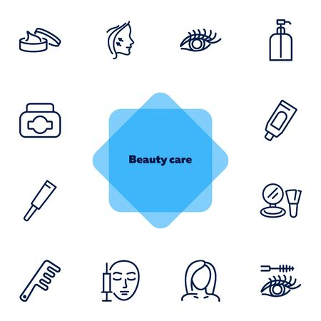 Beauty care line icon set. Cream, eyelashes, mascara. Beautician concept. Can be used for topics like beauty salon, cosmetic products, face lifting