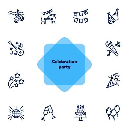 Celebration party line icon set. Ribbon cutting, cake with candles, cracker. Holiday concept. Can be used for topics like grand opening, birthday, show, event