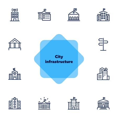City infrastructure line icon set. School, government, courthouse, hospital, road sign. Urban life concept. Can be used for topics like town, big city, architecture Banque d'images - 131055576