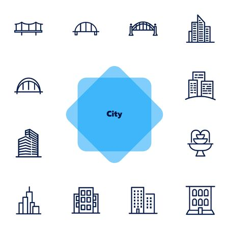City line icon set. Bridge, building, office. Architecture concept. Can be used for topics like landmark, business center, downtown