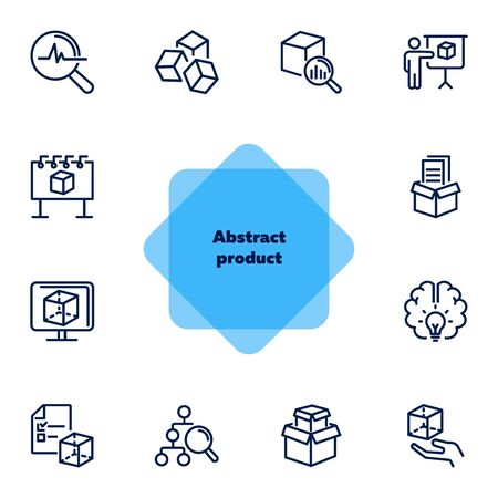 Abstract product line icon set. Data structure, good idea, complex solution. Business concept. Can be used for topics like product promotion, marketing, production