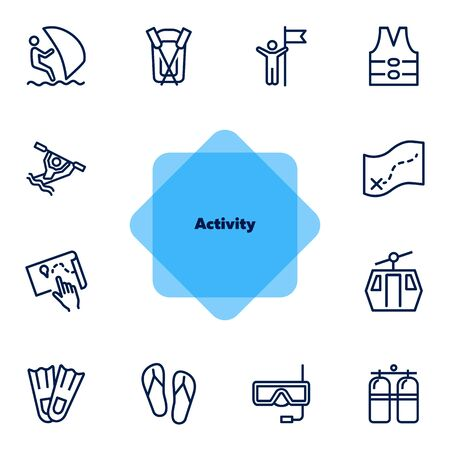 Activity line icon set. Sailing, kayaking, diving. Active lifestyle concept. Can be used for topics like sport, adventure, leisure 向量圖像
