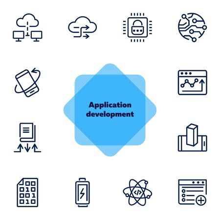 Application development line icon set. Battery charging, binary code, cloud networking. Information technology concept. Can be used for topics like programming, mobile apps, artificial intelligence  イラスト・ベクター素材