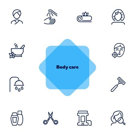 Body care line icon set. Problem skin, roll deodorant, scissors, shower. Beautician concept. Can be used for topics like hygiene, skin care, spa salon