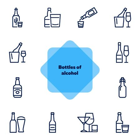 Bottles of alcohol line icon set. Glass, shot, flute, spirits. Alcoholic drinks concept. Can be used for topics like restaurant, bar, pub, addiction