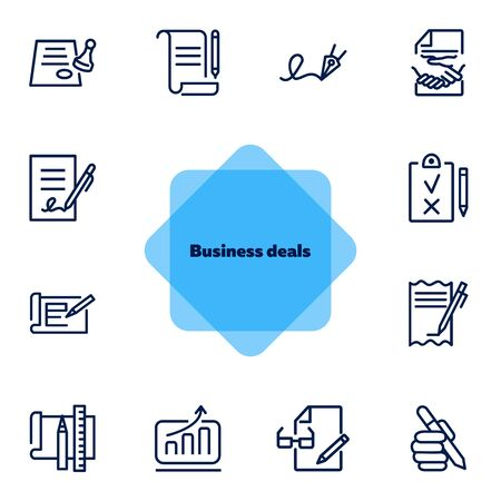 Business deals line icon set. Set of line icons on white background. Working concept. Document, office supplies, pen, bill. Vector illustration can be used for topics like job, office