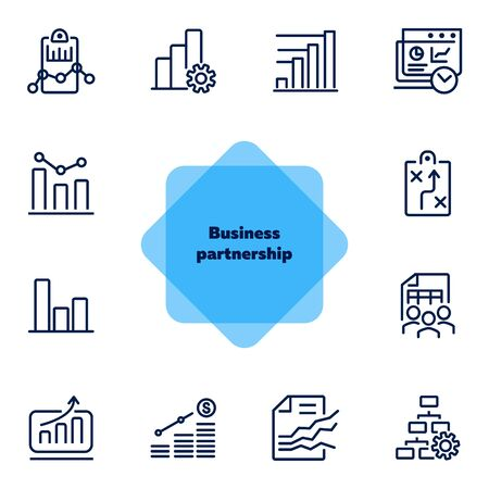 Business planning icon. Set of line icon on white background. Analytics, recruitment, finding solution. Marketing concept. Vector illustration can be used for topic like business, management, analysis Иллюстрация