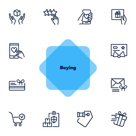 Buying icon set. Gift concept. Vector illustration can be used for topics like shopping, buying, gift card Illusztráció