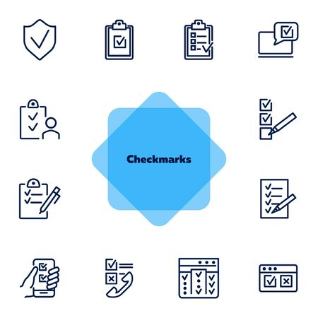 Checkmarks line icon set. Ticks, list, clipboard. Survey concept. Can be used for topics like customer feedback, exam, checklist  イラスト・ベクター素材