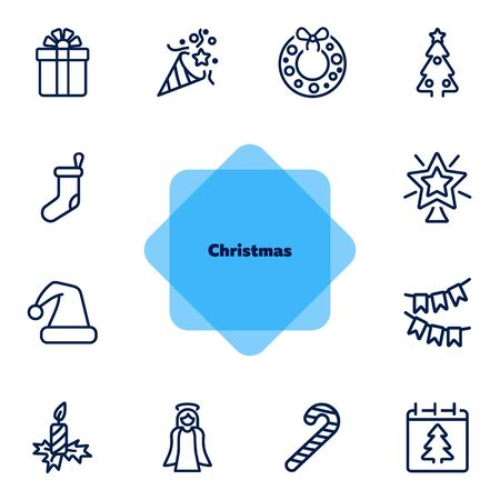 Christmas line icon set. Gift, angel, fir tree, candle. Celebration concept. Can be used for topics like holiday, vacation, decoration