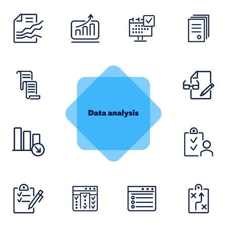 Data analysis icons. Set of line icons on white background. Data, analytics, report. Work concept. Vector illustration can be used for topics like management, project, office