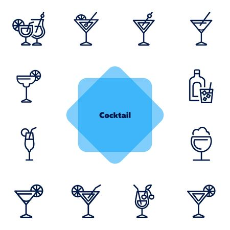 Cocktail line icon set. Vermouth, margarita, pina colada. Alcoholic drinks concept. Can be used for topics like bar, party, celebration  イラスト・ベクター素材