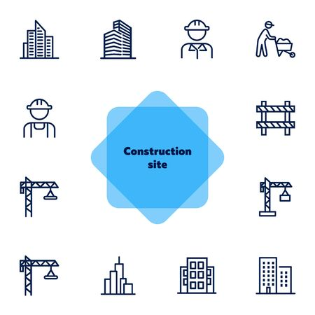 Construction site line icon set. Building, worker in helmet, crane. Construction concept. Can be used for topics like real estate development, work, housebuilding, property  イラスト・ベクター素材