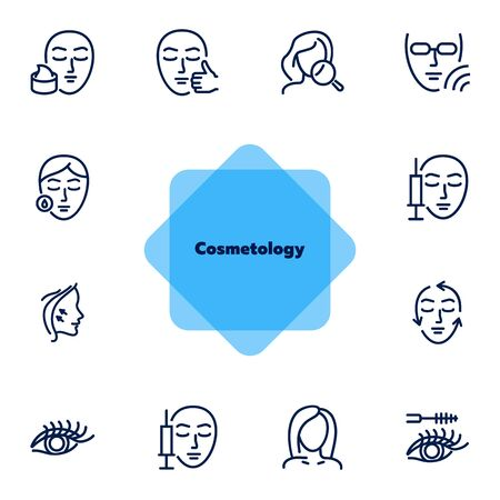 Cosmetology line icon set. injection, solarium, mascara. Beauty concept. Can be used for topics like dermatology, skin care, aesthetics