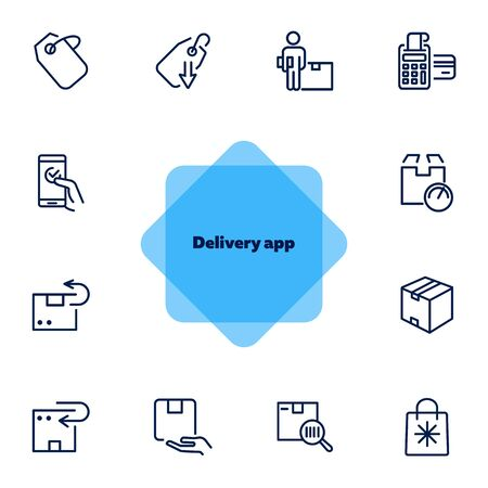 Delivery app icon set. Product delivery concept. Vector illustration can be used for topics like shopping, buying, online store