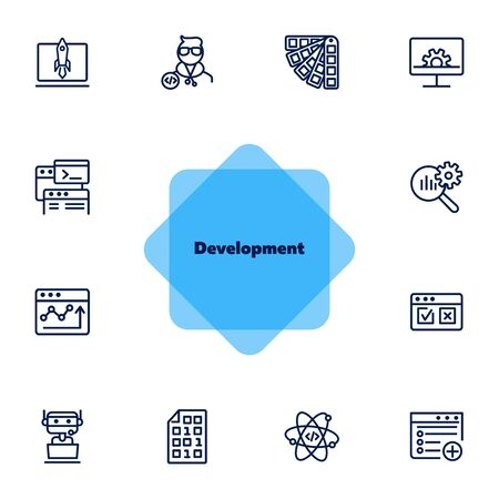 Development line icon set. Adding new file, atom, binary code. Information technology concept. Can be used for topics like machine learning, business SEO, startup, programming