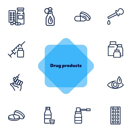 Drug products line icons. Set of line icons on white background. Aid, syringe, pills. Medicine concept. Can be used for topics like pharmacy, medicine, hospital