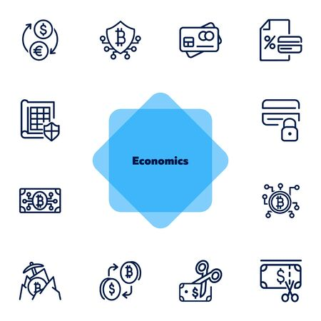 Economics line icon set. Currency, bitcoin, cash, credit card. Business concept. Can be used for topics like finance, conversion, banking Иллюстрация