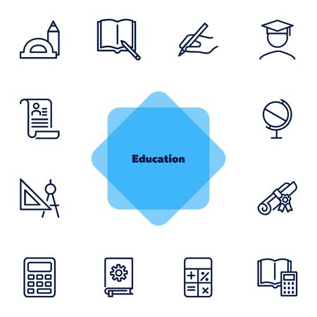 Education line icons. Set of line icons on white background. Studying concept. Globus, calculator, book. Vector illustration can be used for topics like high school, science, college Ilustração