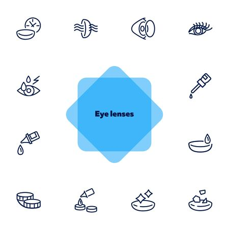 Eye lenses line icon set. Contact lens, container, eye drop. Vision concept. Can be used for topics like eyesight, sight, healthcare