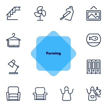 Farming line icon set. Set of line icons on white background. Nature concept. Pig, horse, food, product. Nature concept. Vector illustration can be used for topics like environment, farm, production