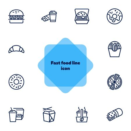 Fast food line icon set. Set of line icons on white background. Pizza, coffee, sandwich, burger. Food concept. Vector illustration can be used for topics like food, street cafe, snack Vector Illustratie