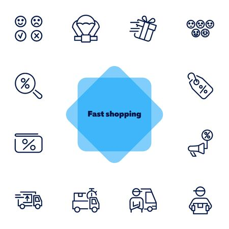 Fast shopping icon set. Product delivery concept. Vector illustration can be used for topics like shopping, buying, online store Ilustracja