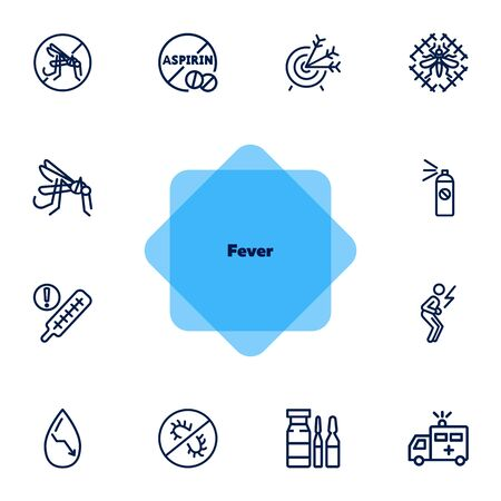 Fever line icon set. Mosquito, bacteria, virus, ambulance car. Health concept. Can be used for topics like epidemic, infection, urgent help