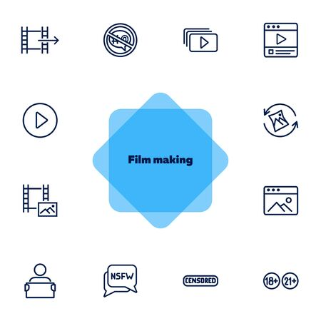 Film making icons. Set of line icons on white background. Video concept. Vector illustration can be used for topics like creation, production, video Ilustração