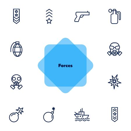 Forces line icon set. Shoulder strap, gun, bomb, ship. Military concept. Can be used for topics like army, war, defense, national security  イラスト・ベクター素材