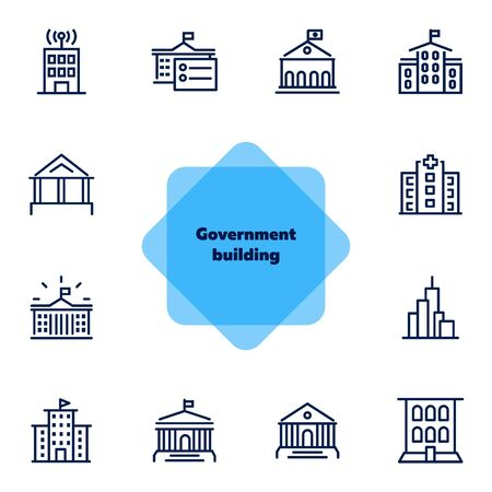Government building line icon set. School, courthouse, hospital. Architecture concept. Can be used for topics like city, office, headquarter