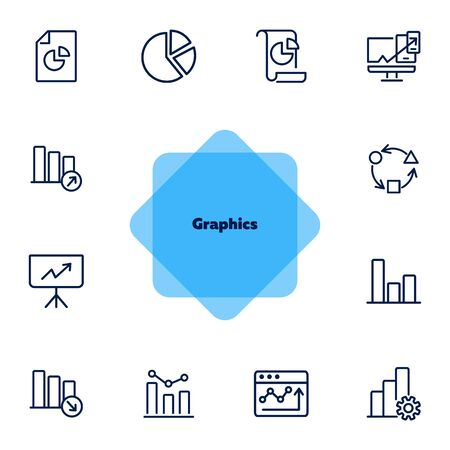 Graphics line icon set. Graph, chart, diagram. Analysis concept. Can be used for topics like marketing, statistics, report  イラスト・ベクター素材