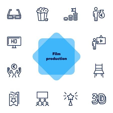 Film production line icon set. 3d glasses, presentation, hall, ticket. Movie industry concept. Can be used for topics like cinema, first night, premier, award Illustration