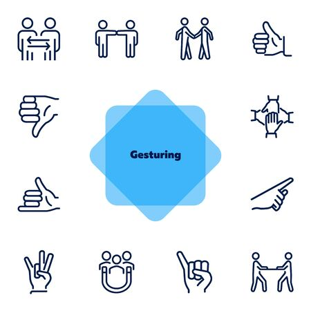 Gesturing line icon set. Handshake, like, thumb down. Body language concept. Can be used for topics like dealing, customer feedback, communication