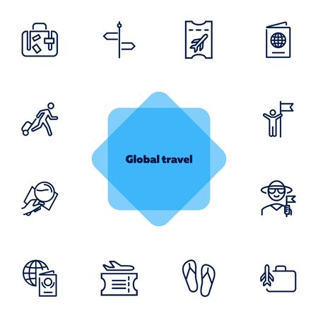 Global travel line icon set. Tourist, luggage, boarding pass, airplane. Tourism concept. Can be used for topics like vacation, journey, voyage Çizim