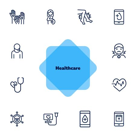 Healthcare line icon set. Pregnant woman, sore throat, test result. Medicine concept. Can be used for topics like medical consulting, examination, checking Illusztráció