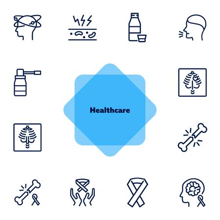 Healthcare line icon set. Set of line icons on white background. Medicine concept. Bone breaking, xray, cough. Vector illustration can be used for topics like medicine, health, treatment