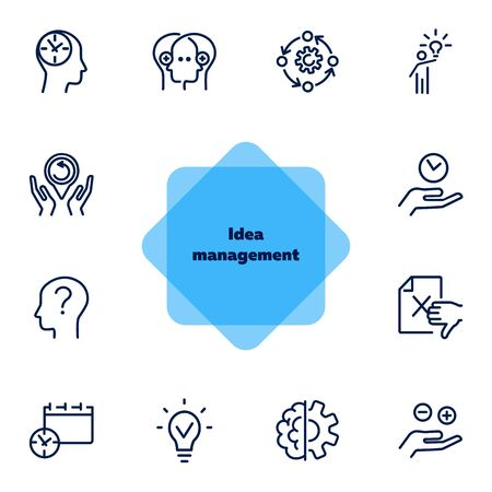 Idea management line icon set. Set of line icons on white background. Research concept. Idea, brain, person. Vector illustration can be used for topics like business, research, investment