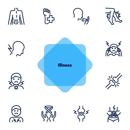 Illness line icons. Set of line icons on white background. Pain, headache, bones. Healthcare concept. Vector illustration can be used for topics like medicine, surgery, healthcare Stock Illustratie