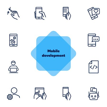 Mobile development line icon set. Phone, smartphone, gadget using. Business concept. Can be used for topics like information technology, software, app, coding
