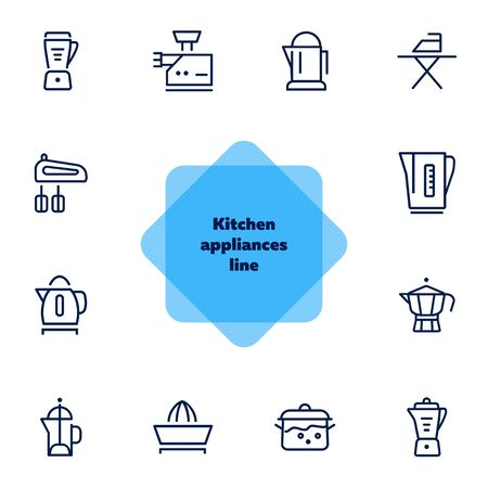 Kitchen appliances line icons. Set of line icons on white background. Inhouse concept. Kettle, teapot, mixer. Vector illustration can be used for appliances, service, house Ilustração
