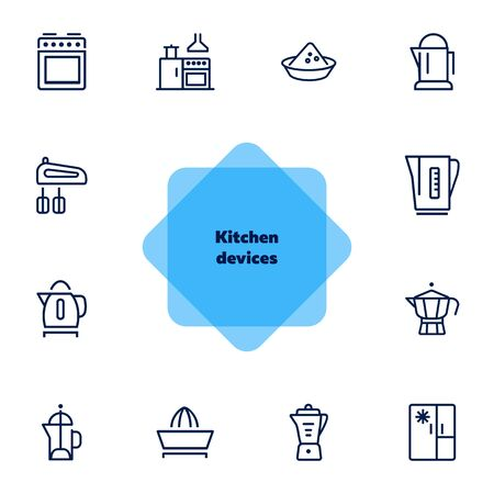 Kitchen devices line icon set. Set of line icons on white background. Kettle, tea pot, mixer. Cooking concept. Vector illustration can be used for topics like home, food, cooking